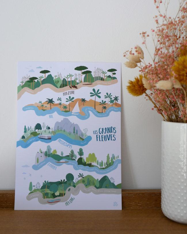 Poster éducatif grands fleuves