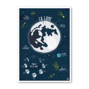 Affiche illustration Lune espace