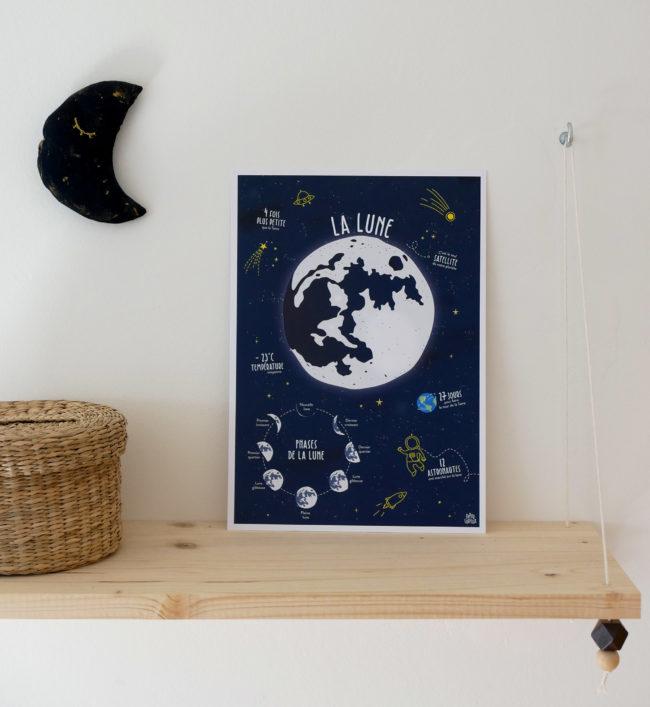 Affiche pédagogique Lune espace