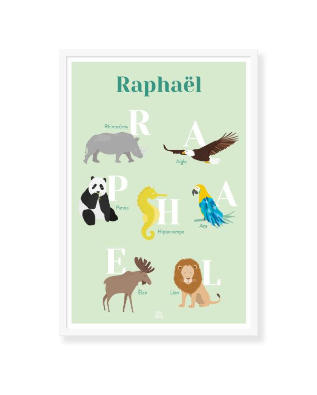 Affiche personnalisée abécédaire enfant animaux