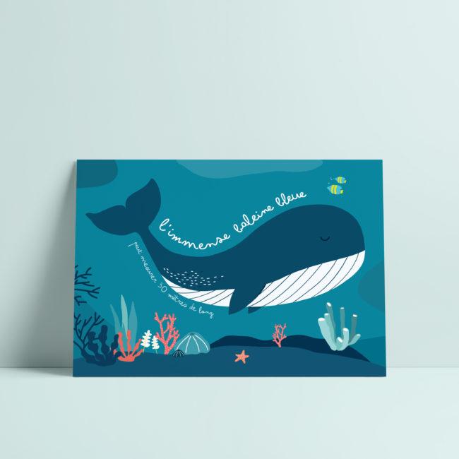 carte postale baleine illustration enfant