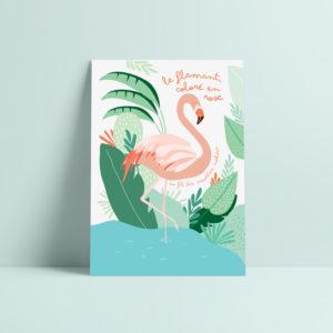 carte postale flamant illustration enfant