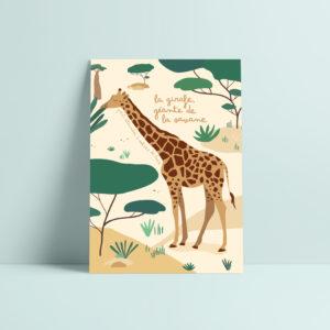 carte postale girafe illustration enfant