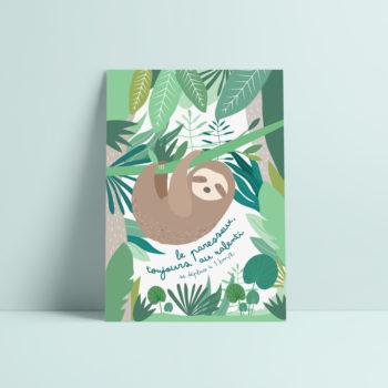 carte postale paresseux illustration enfant